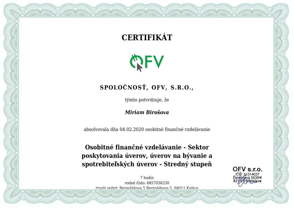 Miriam Birošová - Certifikát