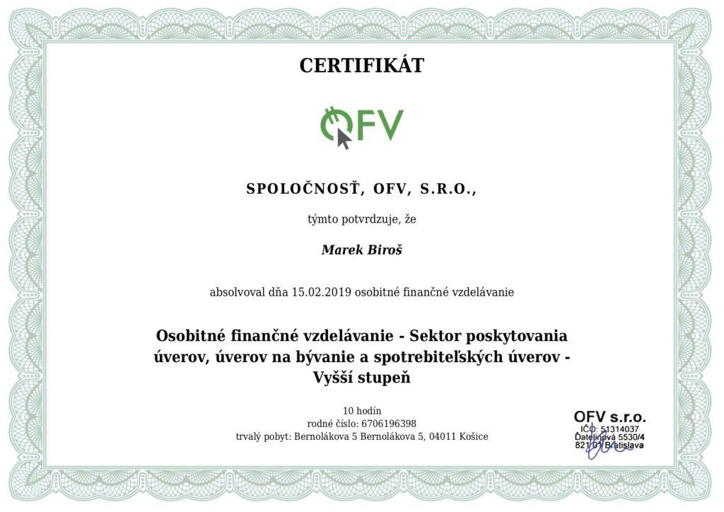 Marek Biroš - Certifikát